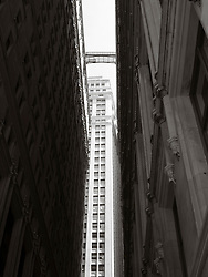 New York City buildings in lower Manhattan looking up