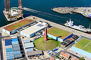 Nederland, Noord-Holland, IJmuiden, 01-08-2016; zeehaven IJmuiden met vuurtoren.<br /> Port of IJmuiden.<br /> luchtfoto (toeslag op standard tarieven);<br /> aerial photo (additional fee required);<br /> copyright foto/photo Siebe Swart
