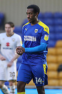 AFC Wimbledon attacker Zach Robinson (14) holding hands together during the EFL Sky Bet League 1 match between AFC Wimbledon and Milton Keynes Dons at Plough Lane, London, United Kingdom on 30 January 2021.