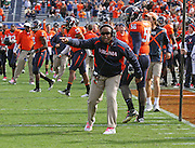Oct 30, 2010; Charlottesville, VA, USA;   Virginia Cavaliers head coach Mike London reacts to a call during 24-19 upset win over the Miami Hurricanes at Scott Stadium. Mandatory Credit: Andrew Shurtleff