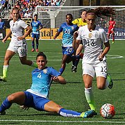 ORLANDO, FL - OCTOBER 25: Alex Morgan #13 of USWNT runs past Rafaelle #4 of Brazil during a women's international friendly soccer match between Brazil and the United States at the Orlando Citrus Bowl on October 25, 2015 in Orlando, Florida. (Photo by Alex Menendez/Getty Images) *** Local Caption *** Alex Morgan; Rafaelle