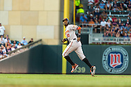 Baltimore Orioles Adam Jones #10 runs the bases during a game against the Minnesota Twins at Target Field in Minneapolis, Minnesota on July 16, 2012.  The Twins defeated the Orioles 19 to 7 setting a Target Field record for runs scored by the Twins.  © 2012 Ben Krause