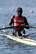 20040814 Olympic Games Athens Greece [Rowing]<br /> Photo  Peter Spurrier <br /> KEN M1Ibrahim Githaiga, moves off the start on the opening day of the Olympic regatta.<br /> <br /> email;  images@intersport-images.com<br /> Tel +44 7973 819 551<br /> T<br /> <br /> <br />  *** Local Caption *** ©Peter Spurrier Intersport Images.<br /> email images@intersport-images.com<br /> Tel +44 7973 819 551[Mandatory Credit Peter Spurrier/ Intersport Images]