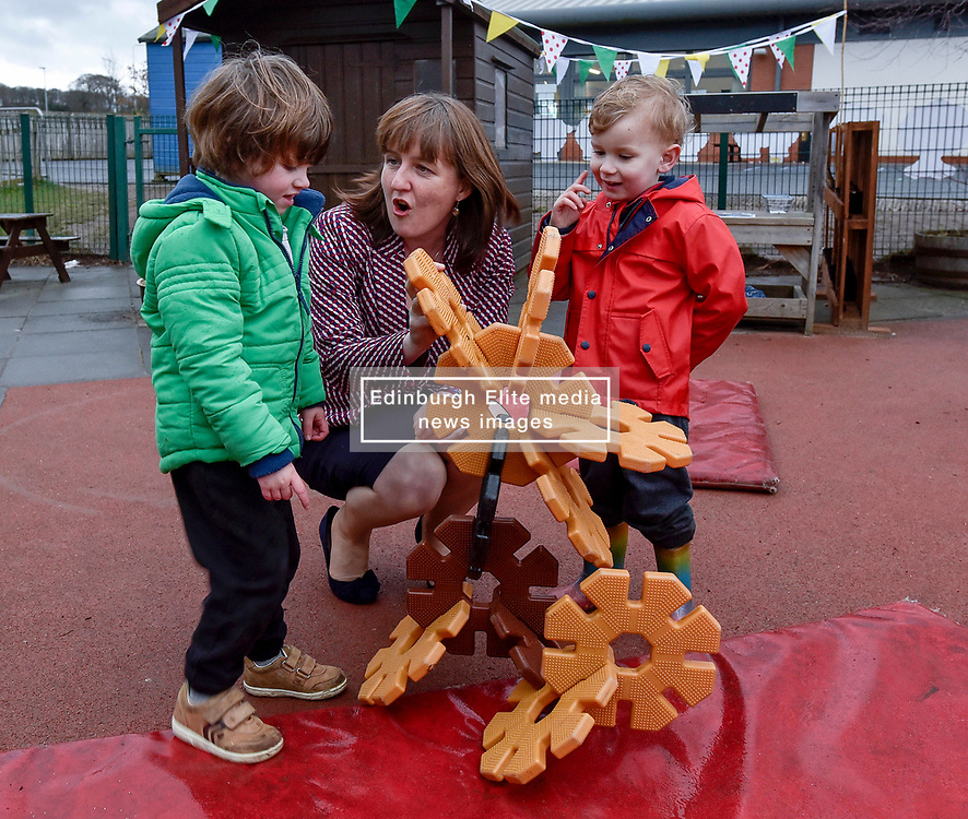 Pictured: Maree Todd meets Lachlan McGurk (3) from Inverkeithing and Brodie Edwards (3) from Inverkeithing.<br /> <br /> Minister for Children and young people Maree Todd launched the Scottish Government's new national standards for childcare and early years providers on a visit to the Treetop Family Centre in Inverkeithing.<br /> <br /> © Dave Johnston / EEm