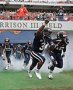 Virginia wide receiver Riko Smalls (3) enters the field before the loss to Duke 28-17 during an ACC college football game Saturday in Charlottesville, VA. Photo/Andrew Shurtleff .