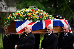 © Licensed to London News Pictures. 01/02/2017. Watford, UK. The coffin arriving at the church for the funeral of former England football team manager Graham Taylor at St Mary's Church in Watford, Hertfordshire. The former England, Watford and Aston Villa manager,  who later went on to be chairman of Watford Football Club, died at the age of 72 from a suspected heart attack. Photo credit: Ben Cawthra/LNP