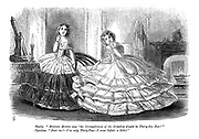 """Emily. """"Madame Bonton says 'the Circumference of the Crinolene should be Thirty-Six Feet!'"""" Caroline. """"Dear me! - I'm only Thirty-Two - I must Inflate a little!"""""""
