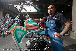 "Aki Sakamoto on his 1968 HD XLCH Ironhead ""KAU'I"" just before Grand Entry to the Mooneyes Yokohama Hot Rod & Custom Show. Yokohama, Japan. December 6, 2015.  Photography ©2015 Michael Lichter."