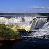 South America, Argentina, Iguacu Falls. A view from the top of the falls at Iguacu in Argentina.