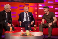 (left to right) Sir Ian McKellen, Patrick Stewart, and James Blunt during filming of the Graham Norton Show at The London Studios.