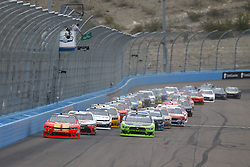 March 10, 2018 - Avondale, Arizona, United States of America - March 10, 2018 - Avondale, Arizona, USA: Justin Allgaier (7) and Brad Keselowski (22) lead the field to the green flag to start the DC Solar 200 at ISM Raceway in Avondale, Arizona. (Credit Image: © Chris Owens Asp Inc/ASP via ZUMA Wire)