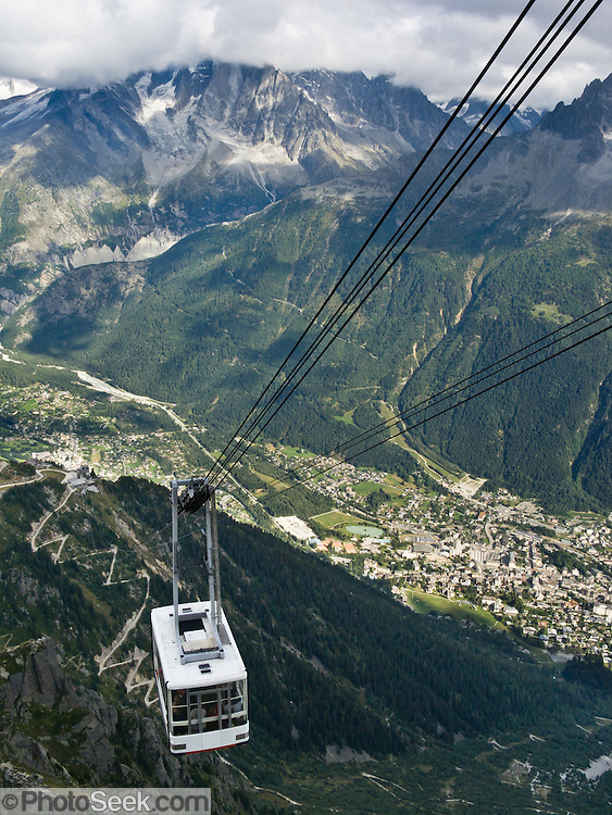 In Chamonix (France, Europe), Le Brevant téléphérique (cable car, aerial tramway, or Seilbahn) carries visitors up the Aiguilles Rouges massif for hikes and impressive views of Mont Blanc (4808 meters or 15,774 feet), the highest peak in Western Europe. Mont Blanc (Monte Bianco in Italian) was first climbed in 1786 by two men from Chamonix. Chamonix is an important world center for mountaineering.