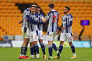 West Bromwich Albion celebrates at full time during the Premier League match between Wolverhampton Wanderers and West Bromwich Albion at Molineux, Wolverhampton, England on 16 January 2021.