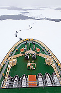 Fissure in the ice developing as the Kapitan Khlebnikov (icebreaker) breaks ice in the Bellingshausen sea in low visibility off the Phantom Coast of W Antarctica