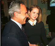 Taki Theodocopolous; Kate Reardon, Conrad Black election night party. Savoy. 4/10/92. SUPPLIED FOR ONE-TIME USE ONLY> DO NOT ARCHIVE. © Copyright Photograph by Dafydd Jones 248 Clapham Rd.  London SW90PZ Tel 020 7820 0771 www.dafjones.com