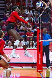 BLOOMINGTON, IL - September 14: Stef Jankiewicz watches Emmy Ogogor power slam the ball over the net during a college Women's volleyball match between the ISU Redbirds and the University of Central Florida (UCF) Knights on September 14 2019 at Illinois State University in Normal, IL. (Photo by Alan Look)<br /> <br /> (Down official is Dean Hoskin)