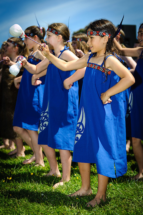 WELLINGTON, NEW ZEALAND - November 30:  A young girl performs with Poi during a Kapa Haka performance during the Hutt River Festival November 30, 2014 in Ewan Bridge, Hutt City, New Zealand.  Interislander River Festival.  (Photo by Mark Tantrum/ real-people.co.nz)