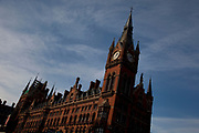 Exterior of St Pancras Hotel. The hotel attached to St Pancras International train station. Red brick, ornate Victorian architecture.