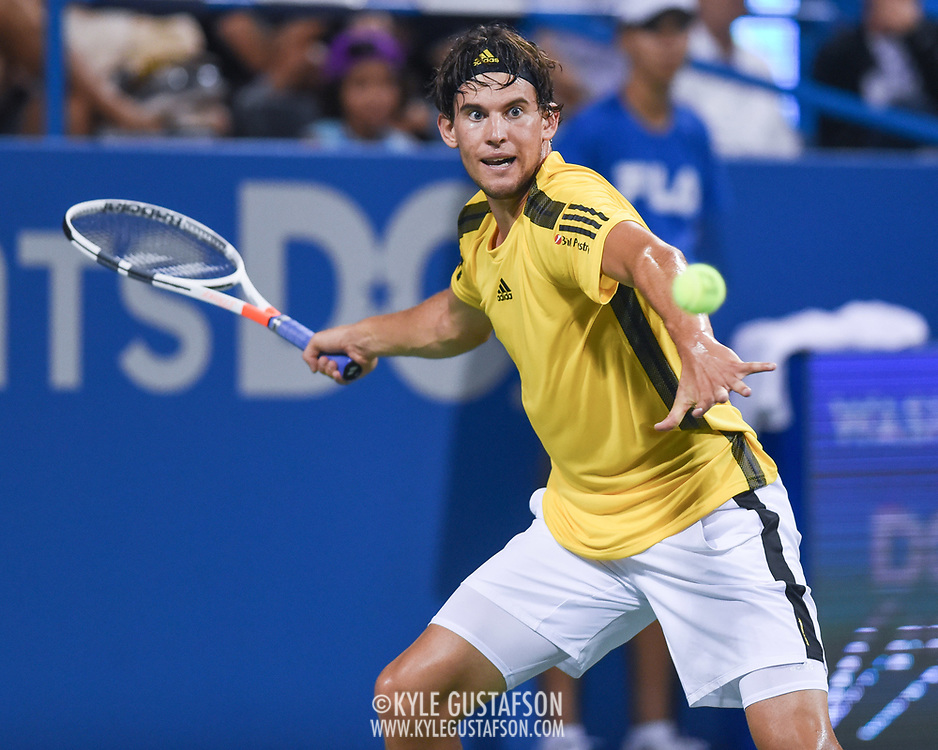 DOMINIC THIEM hits a forehand during his match on day four at the Citi Open at the Rock Creek Park Tennis Center in Washington, D.C.