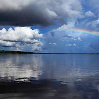 South America, Peru, Amazon. Rainbow of the Amazon.