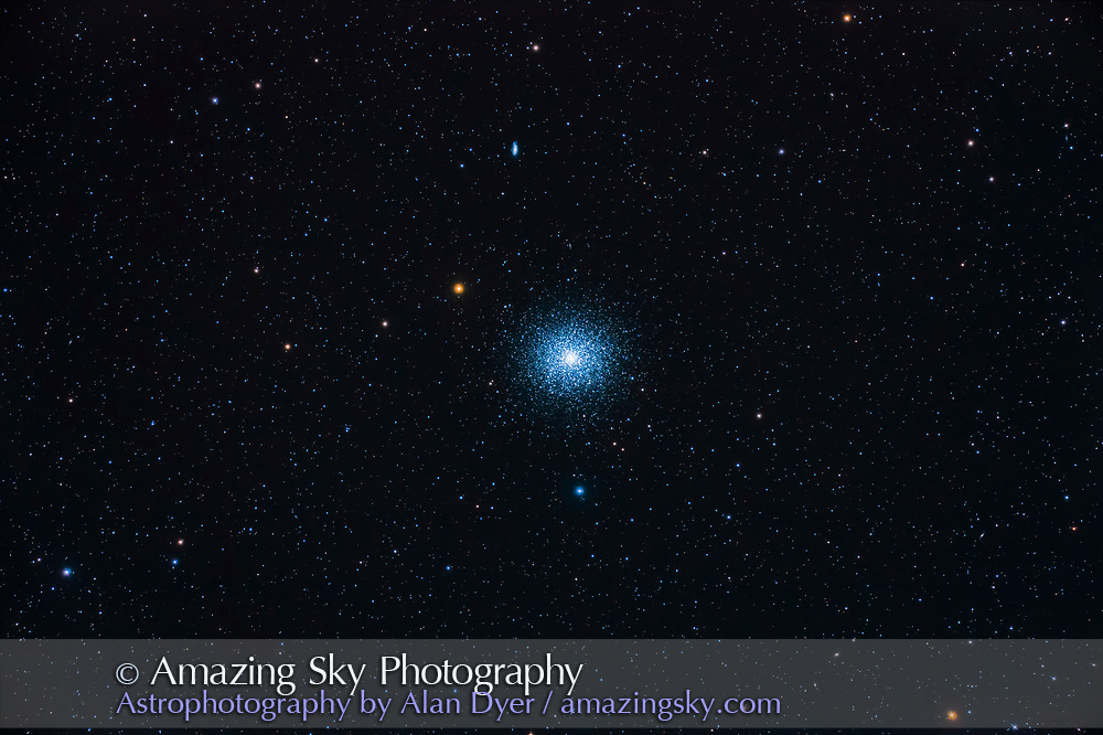 The globular cluster Messier 13 (M13) in Hercules, with the small galaxy NGC 6207 above it. The very tiny galaxy IC 4617 is just visible between NGC 6207 and M13. M13 is generally considered the finest globular cluster in the northern half the sky (north of the celestial equator).<br /> <br /> This is a stack of just two images, each 6 minutes at ISO 800 with the Canon EOS Ra and Astro-Physics EDF 130mm f/6 apo refractor with the 6x7 field flattener. The images were the last two in the sequence of 10, and were the sharpest of the set. Earlier images were softer due to poorer seeing?