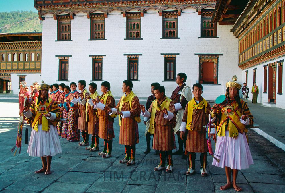 Musicians at festival at Tashichho Dzong,Thimpu, Bhutan