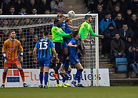 Football - 2018 / 2019 FA Cup - Third Round: Gillingham vs. Cardiff City<br /> <br /> Tom Eaves (Gillingham FC) does his defensive duties at Priestfield Stadium.<br /> <br /> COLORSPORT/DANIEL BEARHAM