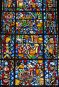 Stained glass in Cathedral of Notre-Dame in Reims, France