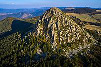 France, Ardèche (07), parc naturel régional des Monts d'Ardèche, Massif du Mézenc, le Mont Gerbier-de-Jonc (1551 m), les sources de la Loire, vue aerienne // France, Ardeche (07), regional natural park of Monts d'Ardèche, Mont Gerbier-de-Jonc (1551 m), the sources of the Loire river, aerial view