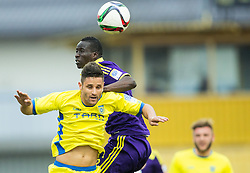 Wolson Aparecido Juninho of Domzale vs Welle Ndiaye  of Maribor during football match between NK Domzale and NK Maribor in 25th Round of Prva liga Telekom Slovenije 2014/15, on March 22, 2015 in Sports park Domzale, Slovenia. Photo by Vid Ponikvar / Sportida