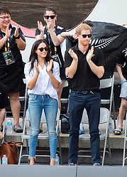 Prince Harry and his girlfriend Meghan Markle cheer while watching the wheelchair tennis competition at the Invictus Games in Toronto, ON, Canada, Monday September 25, 2017. This is Prince Harry's first public appearance with Markle. Photo by Nathan Denette/CP/ABACAPRESS.COM