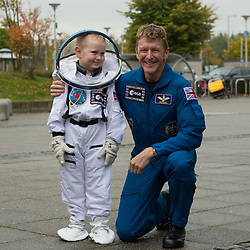 British astronaut Tim Peake meets Callum Milligan, five, during a visit to the Glasgow Science Centre, where he gave an insight into his mission aboard the International Space Station to an audience in Glasgow, including how he coped with drinking recycled urine.