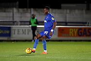 AFC Wimbledon defender Paul Kalambayi (30) passing the ball during the EFL Trophy group stage match between AFC Wimbledon and Stevenage at the Cherry Red Records Stadium, Kingston, England on 6 November 2018.