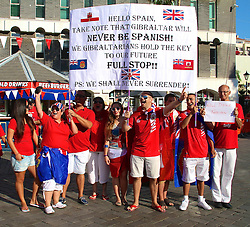 """© Licensed to London News Pictures. 10/09/2013. Gibraltar, UK The people of Gibraltar celebrate their National Day on 10th September 2013 amid tensions between the UK and spain over Sovereignty of the land. British Prime Minister David Cameron delivered a strong message of support to Gibraltar he said the British government """"wholeheartedly"""" supported the Gibraltarians' right to determine their political future.. Photo credit : Donovan Torres/LNP"""