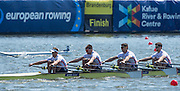 Brandenburg. GERMANY.<br /> GBR M4X. Bow Angus GROOM, Sam TOWNSEND, Graeme THOMAS and Peter LAMBERT. 2016 European Rowing Championships at the Regattastrecke Beetzsee<br /> <br /> Saturday  07/05/2016<br /> <br /> [Mandatory Credit; Peter SPURRIER/Intersport-images]