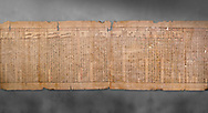 """Anciient Egyptian Book of the Dead papyrus - Spell 30 for stopping the heart betraying the deceased at the tribunal of Osiris, Iufankh's Book of the Dead, Ptolemai period (332-30BC).Turin Egyptian Museum. Grey Background<br /> <br /> the spell reads ' Stand not against me as a witness, oppose me not in the Council, act not against me before the gods, outweigh me not before the great God, the Lord os the West""""<br /> <br /> The translation of  Iuefankh's Book of the Dead papyrus by Richard Lepsius marked a truning point in the studies of ancient Egyptian funereal studies. .<br /> <br /> If you prefer to buy from our ALAMY PHOTO LIBRARY  Collection visit : https://www.alamy.com/portfolio/paul-williams-funkystock/ancient-egyptian-art-artefacts.html  . Type -   Turin   - into the LOWER SEARCH WITHIN GALLERY box. Refine search by adding background colour, subject etc<br /> <br /> Visit our ANCIENT WORLD PHOTO COLLECTIONS for more photos to download or buy as wall art prints https://funkystock.photoshelter.com/gallery-collection/Ancient-World-Art-Antiquities-Historic-Sites-Pictures-Images-of/C00006u26yqSkDOM"""