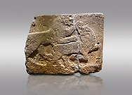 Picture & image of Hittite monumental relief sculpted orthostat stone panel of a Procession. Basalt, Karkamıs, (Kargamıs), Carchemish (Karkemish), 900-700 B.C. Anatolian Civilisations Museum, Ankara, Turkey. Two animals struggling with each other. The lion attacking the bull holds the bull's chin and turns it backwards.  <br /> <br /> Against a gray background. .<br />  <br /> If you prefer to buy from our ALAMY STOCK LIBRARY page at https://www.alamy.com/portfolio/paul-williams-funkystock/hittite-art-antiquities.html  - Type  Karkamıs in LOWER SEARCH WITHIN GALLERY box. Refine search by adding background colour, place, museum etc.<br /> <br /> Visit our HITTITE PHOTO COLLECTIONS for more photos to download or buy as wall art prints https://funkystock.photoshelter.com/gallery-collection/The-Hittites-Art-Artefacts-Antiquities-Historic-Sites-Pictures-Images-of/C0000NUBSMhSc3Oo