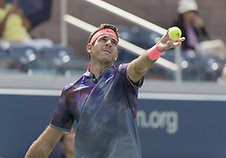 August 31, 2017 - New York, New York, United States - Juan Martin del Potro of Argentina serves during match against Adrian Menendez-Maceiras of Spain at US Open Championships at Billie Jean King National Tennis Center  (Credit Image: © Lev Radin/Pacific Press via ZUMA Wire)