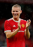 Football - 2021 / 2022 Pre-Season Friendly - Manchester United vs Everton - Old Trafford - Saturday 7th August 2021<br /> <br /> Scott McTominay of Manchester United acknowledges the home fans after the final whistle, at Old Trafford.<br /> <br /> COLORSPORT/ALAN MARTIN
