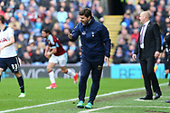 Tottenham Hotspur Manager Mauricio Pochettino shouts from the dugout. Premier League match, Burnley v Tottenham Hotspur at Turf Moor in Burnley , Lancs on Saturday 1st April 2017.<br /> pic by Chris Stading, Andrew Orchard sports photography.