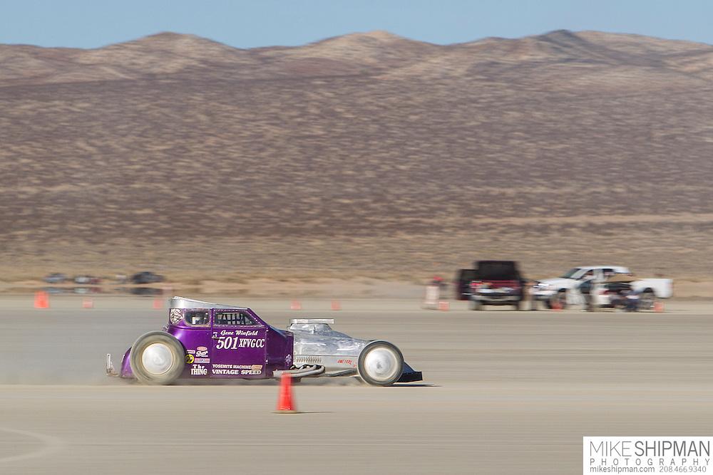 Gene Winfield, 501, eng XF, body VGCC, driver Gene Winfield, 117.972 mph, record 161.454