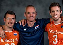21-05-2019 NED: Team shoot Dutch volleyball team men, Arnhem<br /> Stijn Held #20 of Netherlands, Ass. coach Henk-Jan Held of Netherlands, Maarten van Garderen #3 of Netherlands