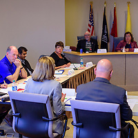 City and county officials gather together during a joint work session at the McKinley County Courthouse in Gallup Tuesday.