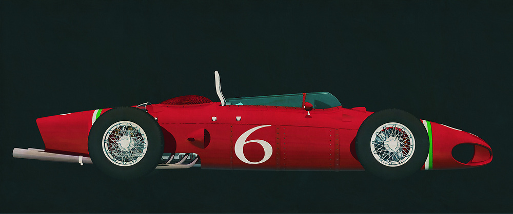 From the moment you see something like the Ferrari 156, your heart begins to race. This vehicle could be seen as an iconic example of our constant fascination with two things. We love to build complex, powerful machines. We like it even more, when those machines can go really, really fast. This art piece depicting the Ferrari 156 plays with both of those thoughts in the best way possible. It isn't difficult to hear the sound of that perfect engine, ripping the racetrack as it hugs a turn that has to be seen to be believed. This art is available in the form of wall art, t-shirts, and interior products. -<br /> BUY THIS PRINT AT<br /> <br /> FINE ART AMERICA<br /> ENGLISH<br /> https://janke.pixels.com/featured/2-ferrari-156-shark-nose-1961-jan-keteleer.html<br /> <br /> WADM / OH MY PRINTS<br /> DUTCH / FRENCH / GERMAN<br /> <br /> https://www.werkaandemuur.nl/nl/shopwerk/Ferrari-156-Haaienneus-1961-zijaanzicht/589386/132<br /> -