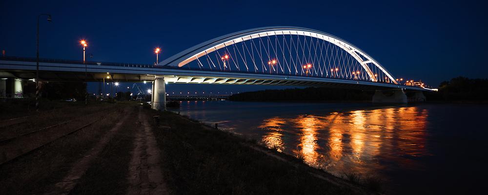 Apollo bridge on Danube river by night