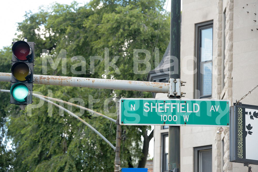 Sheffeld Avenue sign in Chicago, Illinois on Friday, Sept. 4, 2020. Photo by Mark Black
