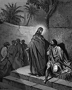 Christ healing the man sick of the palsy. Matthew 9. From Gustave Dore's illustrated 'Bible' 1866. Wood engraving
