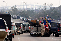 05 Sept  2005. New Orleans, Louisiana. Post hurricane Katrina.<br /> Lines of search and rescue boats wait to put into water east of the city along <br /> Interstate 10 following the devastating hurricane. <br /> Photo; ©Charlie Varley/varleypix.com