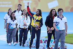 BUENOS AIRES, Oct. 9, 2018  Gabriela Isabel Rueda Rueda (3rd R) of Colombia greets the audience after the awarding ceremony of the women's combined 500m sprint of the roller speed skating event at the 2018 Summer Youth Olympic Games in Buenos Aires, Argentina on Oct. 8, 2018. (Credit Image: © Li Ming/Xinhua via ZUMA Wire)