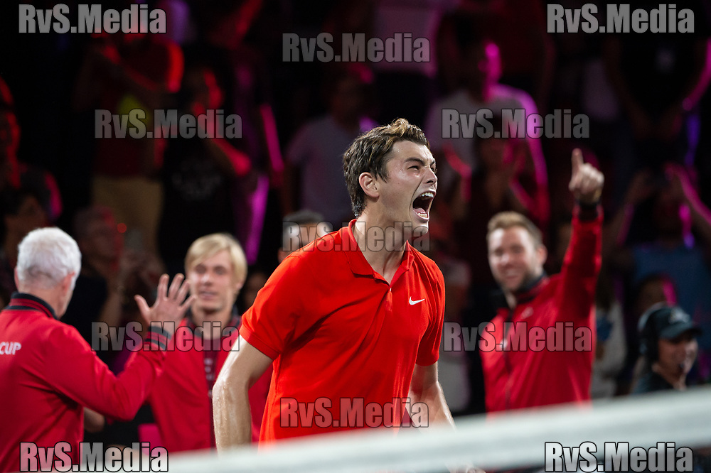 GENEVA, SWITZERLAND - SEPTEMBER 22: Taylor Fritz of Team World celebrates the win during Day 3 of the Laver Cup 2019 at Palexpo on September 20, 2019 in Geneva, Switzerland. The Laver Cup will see six players from the rest of the World competing against their counterparts from Europe. Team World is captained by John McEnroe and Team Europe is captained by Bjorn Borg. The tournament runs from September 20-22. (Photo by Robert Hradil/RvS.Media)